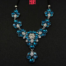 Betsey Johnson Blue Rhinestone Water Drop Charm Pendant Choker Chain Necklace
