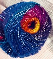 """NEW Lion Brand Shawl In a Ball """"Restful Rainbow"""" Cotton/Acrylic by single skein"""