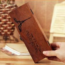 Retro Eiffel Tower Wood Wooden Pen Pencil Case Box Holder Stationery Storage Kid