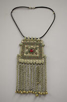 Necklace Silver Kuchi Red Glass Leather Cord Belly Dancing Middle Eastern