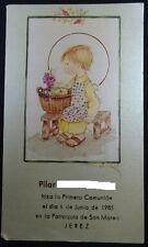 ESTAMPA PRIMERA COMUNION PARROQUIA SAN MATEO JEREZ 1985 HOLY CARD  CC1274