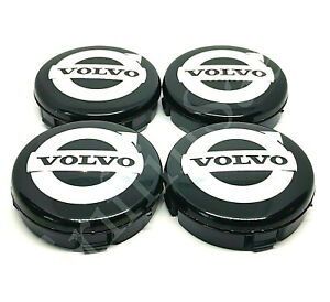 4x Volvo Alloy Wheel Centre Hub Caps 64mm Black & Chrome C30 C70 S40 V50 S60 V70