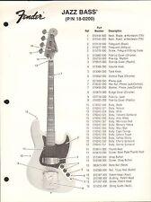 VINTAGE AD SHEET #3626 - FENDER GUITAR PARTS LIST - JAZZ BASS 18-0200