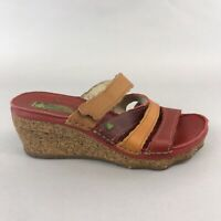 El Naturalista Leather Mules Peep Open Toe Clogs Wedge Sandals Shoes Size 39 UK6