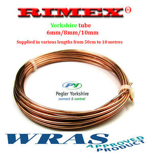 YORKSHIRE TUBE 6mm/8mm/10mm copper pipe, plumbing ,water,gas (1 mm wall) copper