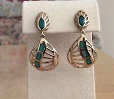 Melinda Maria Cut Out Dangle Drop Earrings, Green Onyx, Gold tone, NWT $155