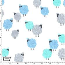 By 1/2 Yd Michael Miller Cotton Fabric ~ Eyes on Ewe Baa Baa Baby in Aqua Blue