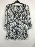 Per una ladies top 3/4 sleeve v-neck circles grey mix size 16 silk 003