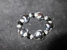 Statement Glass Crystal Bracelet Red White Abstract Hearts Stretchy Shiny CHIC