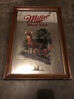 Miller High Life Beer Michigan Wildlife Series Mirror Sign White Tailed Deer