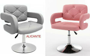 GREY / PINK LEATHER STYLE HAIRDRESSER SWIVEL CHAIR BEAUTY SALON FURNITURE