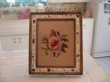 Beautiful Vintage Framed Completed Needlepoint Pink Roses Picture Mosaic Frame