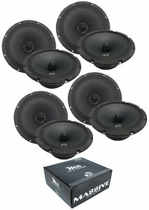 "4 Pair of Massive Audio M8 8"" 2400Watts 8 Ohm Mid Bass Bullet Loud Speaker"