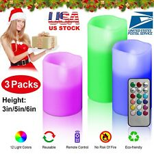 """3pc LED Flameless Candles 4"""" 5"""" 6"""" Pillar 12 Color Changing w/ Remote Control"""