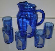 Vintage Hazel Atlas Cobalt Blue Pitcher & 5 Glasses w Sailboats