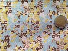 coupon de tissu  PUR coton    imprimé  fond  jaune  ciel   : 3.00 m ; Ref  MO