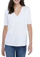 EILEEN FISHER White Organic Cotton Jersey V-neck Tee Women's XS X-Small NewW/Tag