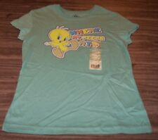 WOMEN'S TEEN WB LOONEY TUNES TWEETY BIRD Where My Peeps T-shirt LARGE 11/13 NEW