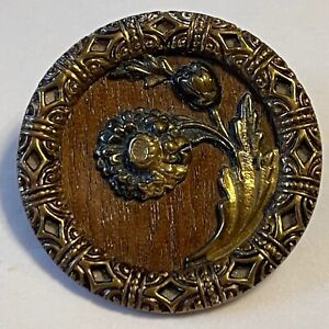 Antique Brass Picture Button Flower on Wood with Ornate Twinkle Border