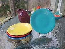 "4 Luncheon PLATES set lot turquoise scarlet sunflower FIESTA WARE 9"" NEW"
