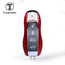Red Real Carbon Fiber Luxury Key Case for Porsche Cayenne Panamera 911 Spyder