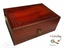 Extra Large Wood Box Polish Handmade Wooden Jewelry Box Keepsake Lock and Key