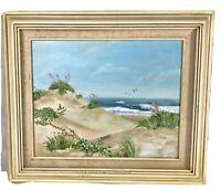 Original Oil Painting Beach Sand Dunes Gulls Signed Betsy Terrill Vintage Framed