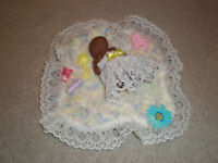 "Polymer Clay OOAK Miniature Baby Girl 3 1/2"" HAND CROCHET PILLOW, BLANKET NEW"