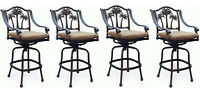 Patio palm tree cast aluminum barstool set of 4 outdoor swivel bar stools Bronze