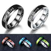 Couple Lovers Stainless Steel His Queen Her King Wedding Ring Engagement Band