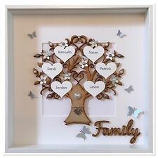 Personalised Family Tree Box Frame Handmade Christmas Xmas Gift Home Love Grey
