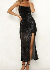NEW ESTHER SEXY BLACK COWL NECK SPLIT SEQUIN FORMAL EVENING DRESS 6 8 10 12