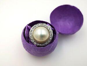 Exklusives Diamant-Perlenschloss / Perlschließe 750/18K WG mit 91 Brillanten!
