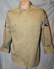 WWII US ARMY KHAKI SHIRT W 10TH ARMY & WESTERN PACIFIC COMMAND TECH 4 CHEVRONS