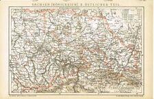 Karte KÖNIGREICH SACHSEN, ÖSTLICHER TEIL / DRESDEN 1895 Original-Graphik