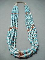 BEAUTIFUL VINTAGE NAVAJO TURQUOISE CORAL SHELL NECKLACE