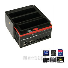 "2.5"" 3.5"" SATA IDE Hard Disk Drive HDD Docking Station Clone USB HUB Card Reader"