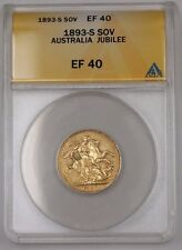 1893-S Australia One Sovereign Gold Coin Jubilee ANACS EF-40