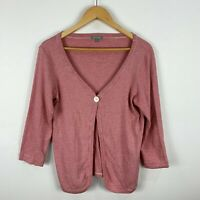 Yarra Trail Womens Top Size Large Red White Striped Long Sleeve Cardigan Button