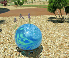 "Glass Gazing Globe Ball Blue Green Swirled 10"" new"