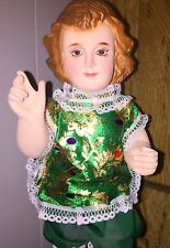 "Large Vintage Santos Baby Jesus Figure Beautiful Glass Eyes 16"" Wood Mounted"
