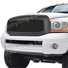 06-08 Dodge RAM 1500+2500+3500 Front Hood Flat Matte Black Mesh Grille+Shell