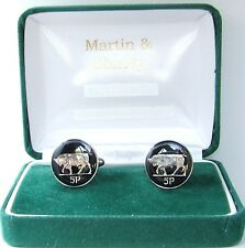No Date IRISH BULL Cufflinks made from old IRELAND  coins in Black & Silver