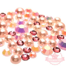 200 pcs Resin 14 facets Rhinestone / pearl 3mm-6mm round Flatback Mix Light Pink