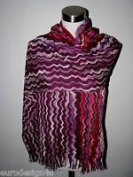 AUTHENTIC MISSONI FRINGED ZigZag KNIT SCARF/SHAWL ORANGE LBL made in Italy
