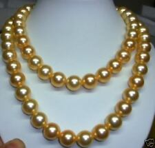 "8MM SEA NATURAL GOLD Shell PEARL NECKLACE25"".D--333"