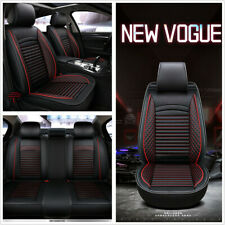 Universal 5-Seats Car Seat Covers Full Set Premium Interior Black Red PU Leather