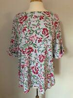 Karen Scott Women Top Plus Size 3X Cotton Blend Floral Cuffed Short Sleeves NWT