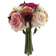PINK ~ Soft Roses Bridal Bouquet Hand Tied Silk Wedding Flowers Centerpieces NEW