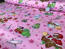 100% Cotton Fabric Christmas Holly Santa Stars Trees Light Pink Print Per Metre